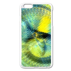 Light Blue Yellow Abstract Fractal Apple Iphone 6 Plus/6s Plus Enamel White Case by designworld65