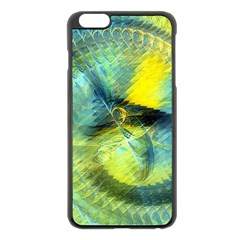 Light Blue Yellow Abstract Fractal Apple Iphone 6 Plus/6s Plus Black Enamel Case by designworld65