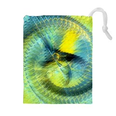 Light Blue Yellow Abstract Fractal Drawstring Pouches (extra Large) by designworld65