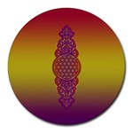 Flower Of Life Vintage Gold Ornaments Red Purple Olive Round Mousepads Front