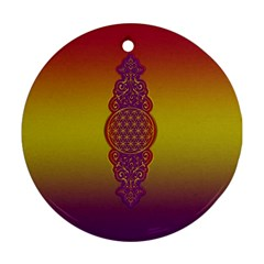 Flower Of Life Vintage Gold Ornaments Red Purple Olive Ornament (round)  by EDDArt