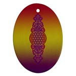 Flower Of Life Vintage Gold Ornaments Red Purple Olive Ornament (Oval)  Front