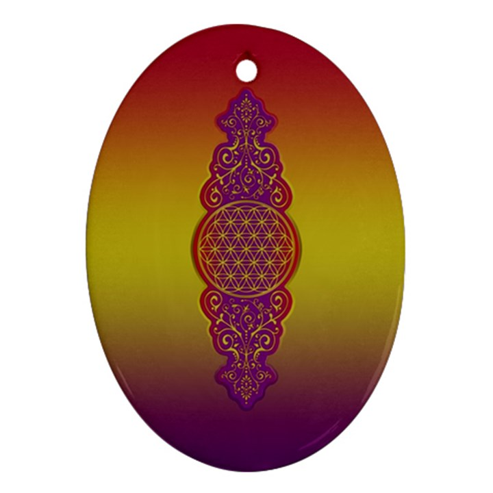 Flower Of Life Vintage Gold Ornaments Red Purple Olive Ornament (Oval)
