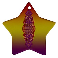 Flower Of Life Vintage Gold Ornaments Red Purple Olive Star Ornament (two Sides)  by EDDArt