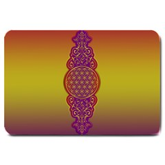 Flower Of Life Vintage Gold Ornaments Red Purple Olive Large Doormat  by EDDArt