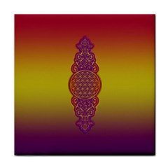 Flower Of Life Vintage Gold Ornaments Red Purple Olive Face Towel by EDDArt