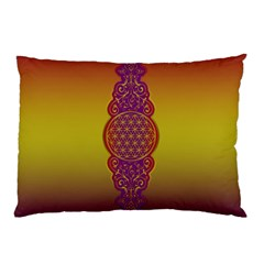 Flower Of Life Vintage Gold Ornaments Red Purple Olive Pillow Case by EDDArt