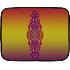 Flower Of Life Vintage Gold Ornaments Red Purple Olive Fleece Blanket (mini) by EDDArt