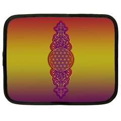 Flower Of Life Vintage Gold Ornaments Red Purple Olive Netbook Case (xxl)  by EDDArt