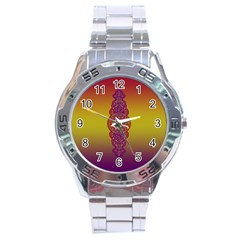 Flower Of Life Vintage Gold Ornaments Red Purple Olive Stainless Steel Analogue Watch by EDDArt