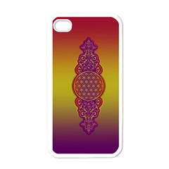 Flower Of Life Vintage Gold Ornaments Red Purple Olive Apple Iphone 4 Case (white) by EDDArt
