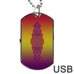 Flower Of Life Vintage Gold Ornaments Red Purple Olive Dog Tag Usb Flash (two Sides)  by EDDArt