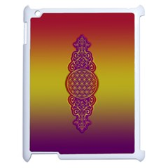 Flower Of Life Vintage Gold Ornaments Red Purple Olive Apple Ipad 2 Case (white) by EDDArt