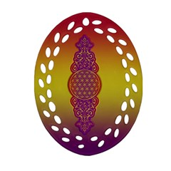 Flower Of Life Vintage Gold Ornaments Red Purple Olive Ornament (oval Filigree)  by EDDArt