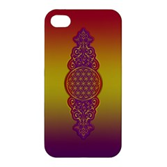 Flower Of Life Vintage Gold Ornaments Red Purple Olive Apple Iphone 4/4s Hardshell Case by EDDArt