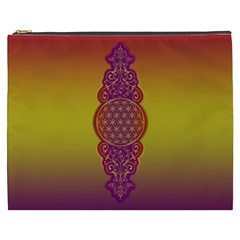 Flower Of Life Vintage Gold Ornaments Red Purple Olive Cosmetic Bag (xxxl)  by EDDArt