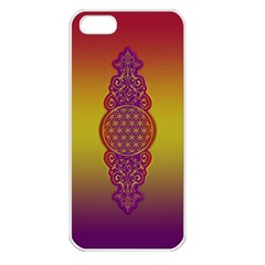 Flower Of Life Vintage Gold Ornaments Red Purple Olive Apple Iphone 5 Seamless Case (white) by EDDArt