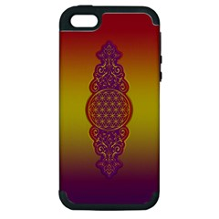 Flower Of Life Vintage Gold Ornaments Red Purple Olive Apple Iphone 5 Hardshell Case (pc+silicone) by EDDArt