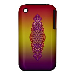 Flower Of Life Vintage Gold Ornaments Red Purple Olive Apple Iphone 3g/3gs Hardshell Case (pc+silicone) by EDDArt