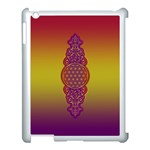 Flower Of Life Vintage Gold Ornaments Red Purple Olive Apple iPad 3/4 Case (White) Front