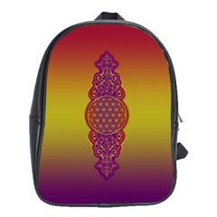 Flower Of Life Vintage Gold Ornaments Red Purple Olive School Bags (xl)  by EDDArt