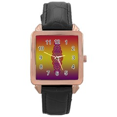 Flower Of Life Vintage Gold Ornaments Red Purple Olive Rose Gold Leather Watch  by EDDArt