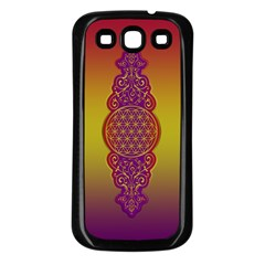Flower Of Life Vintage Gold Ornaments Red Purple Olive Samsung Galaxy S3 Back Case (black) by EDDArt