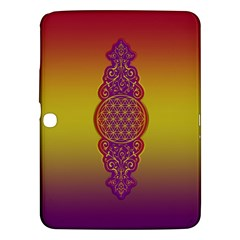 Flower Of Life Vintage Gold Ornaments Red Purple Olive Samsung Galaxy Tab 3 (10 1 ) P5200 Hardshell Case  by EDDArt