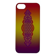 Flower Of Life Vintage Gold Ornaments Red Purple Olive Apple Iphone 5s/ Se Hardshell Case by EDDArt
