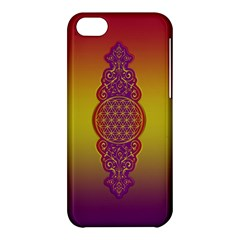 Flower Of Life Vintage Gold Ornaments Red Purple Olive Apple Iphone 5c Hardshell Case by EDDArt