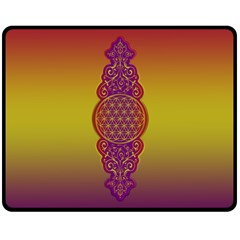 Flower Of Life Vintage Gold Ornaments Red Purple Olive Double Sided Fleece Blanket (medium)  by EDDArt