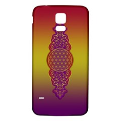 Flower Of Life Vintage Gold Ornaments Red Purple Olive Samsung Galaxy S5 Back Case (white) by EDDArt