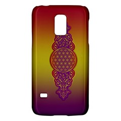 Flower Of Life Vintage Gold Ornaments Red Purple Olive Galaxy S5 Mini by EDDArt