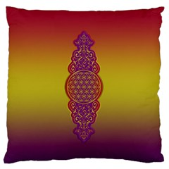 Flower Of Life Vintage Gold Ornaments Red Purple Olive Large Flano Cushion Case (two Sides) by EDDArt