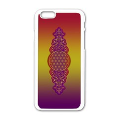 Flower Of Life Vintage Gold Ornaments Red Purple Olive Apple Iphone 6/6s White Enamel Case by EDDArt