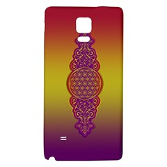 Flower Of Life Vintage Gold Ornaments Red Purple Olive Galaxy Note 4 Back Case by EDDArt