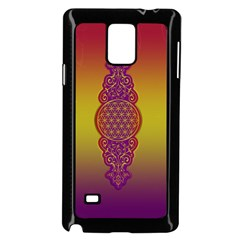 Flower Of Life Vintage Gold Ornaments Red Purple Olive Samsung Galaxy Note 4 Case (black)