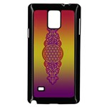 Flower Of Life Vintage Gold Ornaments Red Purple Olive Samsung Galaxy Note 4 Case (Black) Front