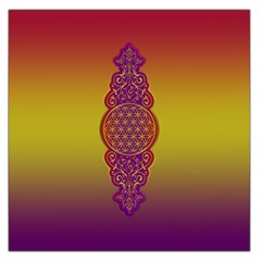 Flower Of Life Vintage Gold Ornaments Red Purple Olive Large Satin Scarf (square) by EDDArt