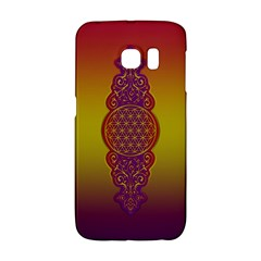 Flower Of Life Vintage Gold Ornaments Red Purple Olive Galaxy S6 Edge by EDDArt