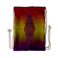 Flower Of Life Vintage Gold Ornaments Red Purple Olive Drawstring Bag (small) by EDDArt