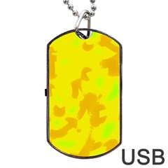 Simple Yellow Dog Tag Usb Flash (one Side) by Valentinaart