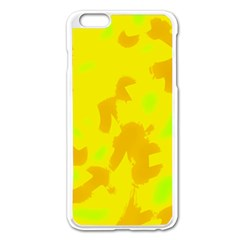 Simple Yellow Apple Iphone 6 Plus/6s Plus Enamel White Case by Valentinaart
