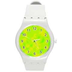 Simple Yellow And Green Round Plastic Sport Watch (m) by Valentinaart