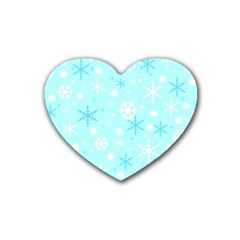 Blue Xmas Pattern Rubber Coaster (heart)  by Valentinaart