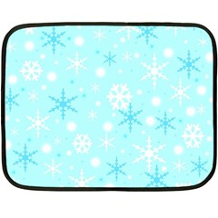 Blue Xmas Pattern Fleece Blanket (mini) by Valentinaart