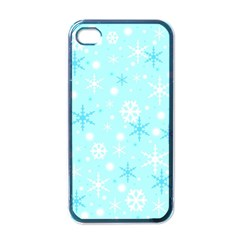 Blue Xmas Pattern Apple Iphone 4 Case (black)