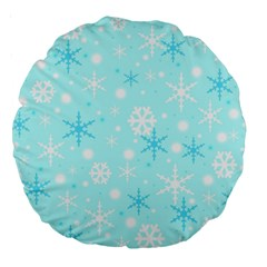 Blue Xmas Pattern Large 18  Premium Round Cushions by Valentinaart
