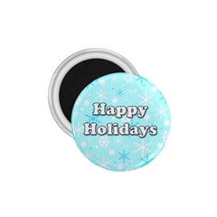 Happy Holidays Blue Pattern 1 75  Magnets by Valentinaart
