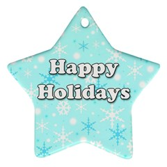 Happy Holidays Blue Pattern Ornament (star)